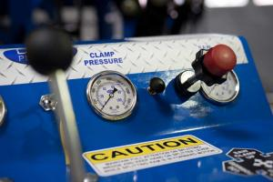 Pressure gauge shows PSI readings